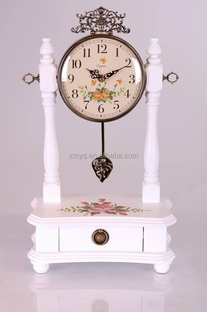 Antique Solid Wooden Table Clock Retro Pendulum Digital Desktop Clock For Home Decor