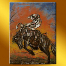 new arrival excellent decorative design horse racing sculpture oil painting with rider