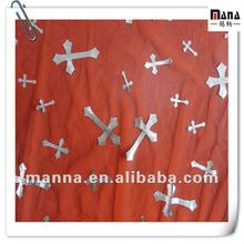 Silver cross foil mesh polyester fabric for decoration