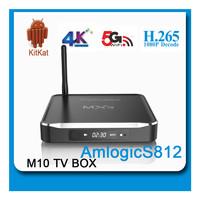 Alumnium! Best Amlogic S812 Quad Core Google Android 4.4 Android Tv Box M10 2GB/8GB Kodi Bluetooth Dual-band Wifi 4k 2k support