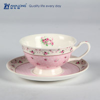 Rose Painting Sweet Natural Pink Fine Ceramic Tea Cup And Saucer set