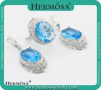 Hermosa Jewelry TOP FASHION Pretty Blue Topaz 925 Sterling Silver Trendy Wedding Jewelry Set