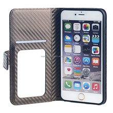 Mobile Phone PU Leather Wallet Case Cover for iPhone 6 Plus with Mirror