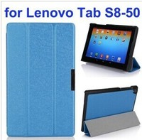 Silk Texture 3 Folding Stand Flip Leather Case for Lenovo Tab S8-50