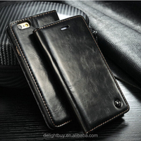 PU leather wallet cover stand case for iphone6 6S 4.7inch with card slot flip cover case factory