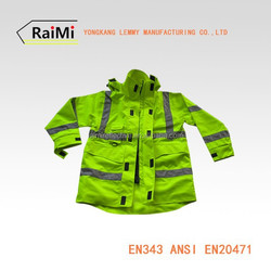 Safety Reflective Long Sleeves Raincoat With Zipper Summer 2015