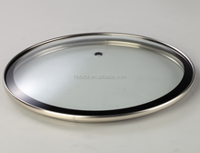 Manufacturer various types cheap cookware glass lid with stainless steel rim