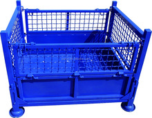 industrial storage stackable folding steel wire mesh container