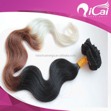 Elegant Three Ombre Color Clip In Hair Virgin Brazilian Remy Hair Popular Body Wave 8Piece/Lot