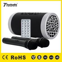 Portable usb subwoofer speaker/high quality loudspeaker with two microphones loudspeaker box