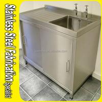 Custom 304 Single bowl Stainless Steel Laundry Sink Cabinet