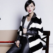 Hot sale lady fashion real natural long rex rabbit fur jacket dyed black and white colors