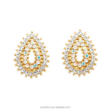 Jewelry Wholesalers New York Gold plated Crystal Tear Drop Earrings Pave CZ Stone Earring
