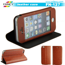 Newest style best price touch screen view for Iphone 6 flip leather case wholesale