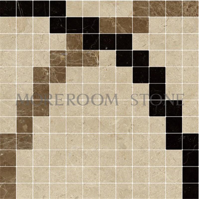 MPC0001-G01A Moreroom Stone Spanish Beige Marble Crema Marfil Black Stone Nero Marble Light Emperador Marble Mosaic Tiles Home Marble Flooring Mosaic Bathroom Design Mosaic Medallion Inlay Marble Tiles.jpg