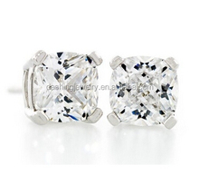 Cushion Shape Heavy Diamond Cut Crystal White 3.5 carat diamond havy sterling silver stud earrings designs