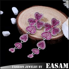 Delicate exaggerated full of diamond heart dangle earrings