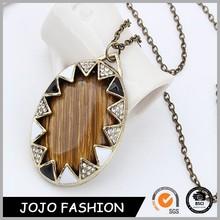 Cheap Fashion Light Weight Chain Men's Wooden Mirror Shape Pendant Necklace