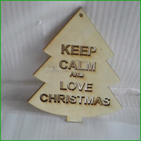 Wooden Cut Out with Laser Engraved Letter for Christmas