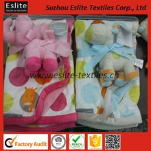 Soft Printed Micro Plush Children Blanket With Toy