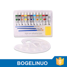 Bomega12 Colours Kids Acrylic Paint Set with Palette and 3 Paint Brushes Factory