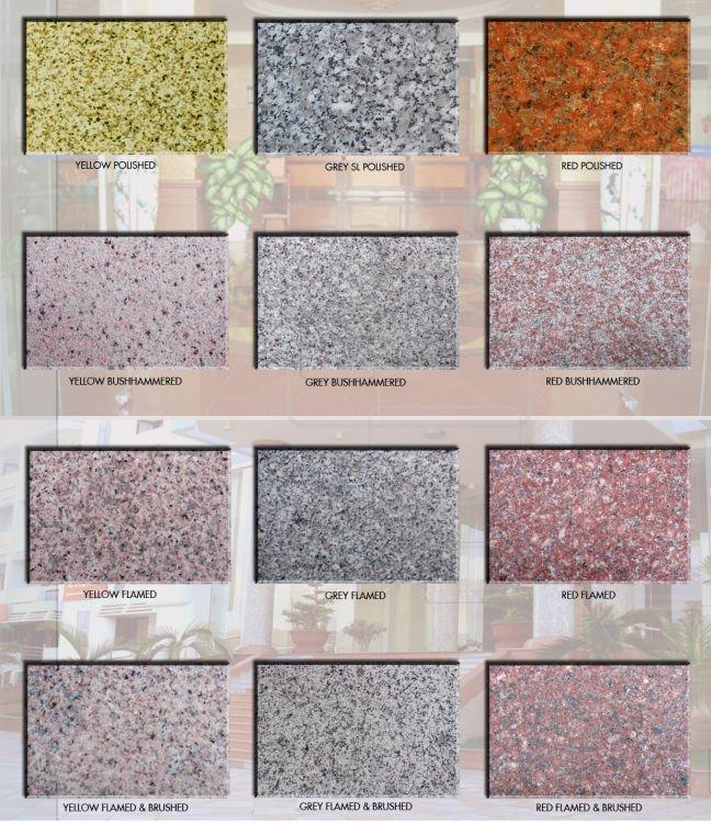 granito de piedra en muchos colores