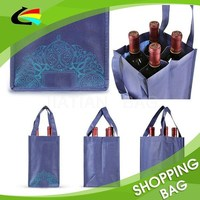 Promotional 4 Bottle Wine Bag Foldable Non Woven Wine Tote