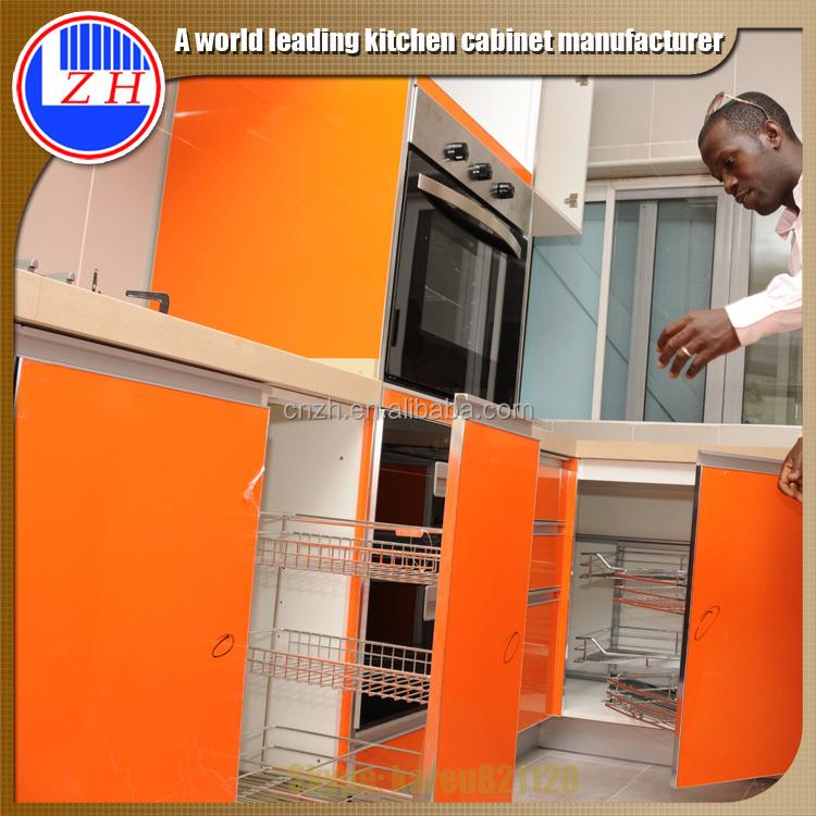 Kitchen Design Uv: Modular High Glossy Uv Orange Color Ghana Kitchen Cabinet