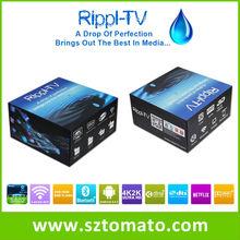 Factory Price!!! Rippl-TV Smart TV Box Amlogic S802 1080p 3D WiFI Miracast Quad Core Full HD Media Player XBMC UtilOS Edition