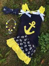 fancy kids baby girls skirt and top model designs,toddler girls boutique clothing sets, kids summer cotton anchor tank outfit