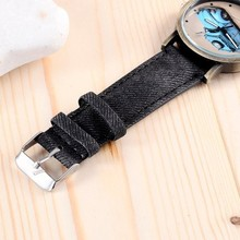 Stylish Car Design Quartz Watch Denim Fabric Strap Watch Unisex Fashion Casual Clock Hours Relojes Mens Womens Wrist Watches