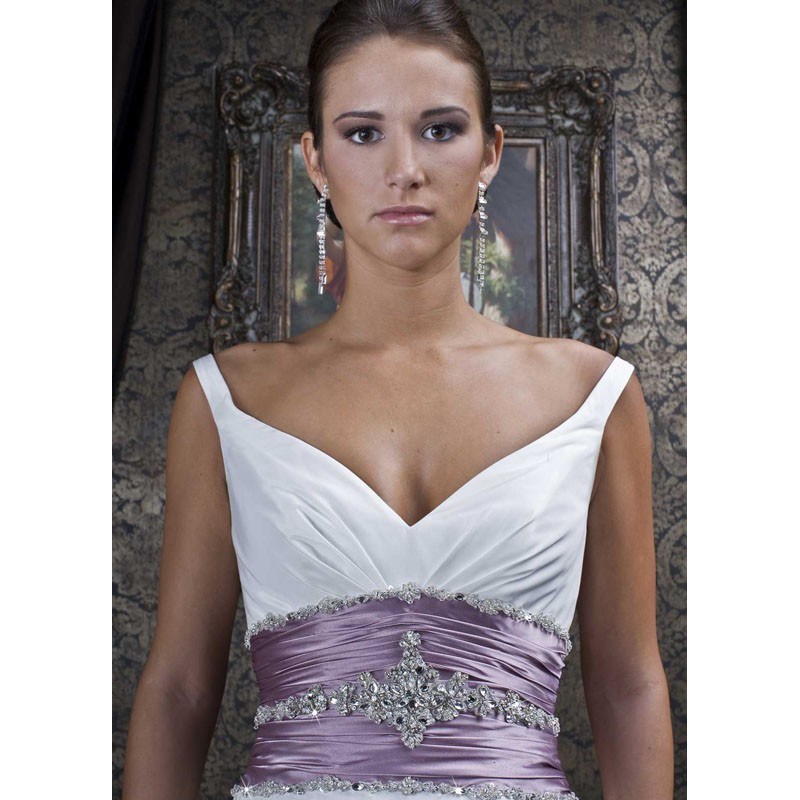 Sweetheart neckline white and purple beaded wedding dress for White wedding dress with purple accents