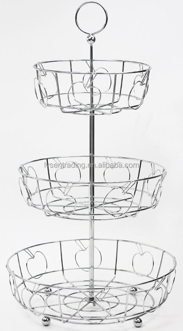 En acier inoxydable suspendus fil m tallique 3 niveaux fruits panier panier de rangement id de - Corbeille a fruits 3 etages ...