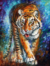 Manufacturer Wholesale Price Supply 100% Handmade Beautiful Tiger Knife Oil Painting On Canvas Tiger Painting For Wall Decor