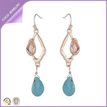 Summer Fine and Fashion Pearl Statement Ethnic Tibetan Gold Diamond Turquoise Style Drop Dangle Earrings for Women (EHY53)