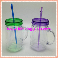 2015 Hot selling BPA Free double wall plastic mason jars with handle lid and straw