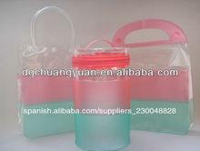 la moda de plástico transparente de pvc transparente con cremallera bolsos de mano con diferentes forma de manejar
