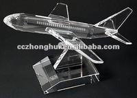 Clear engraving crystal airplane model