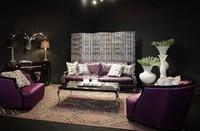 New design italian purple color leather sofa living room furniture leather sofa set