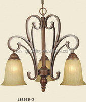 3 lights cheap rustic down light chandelier with UL
