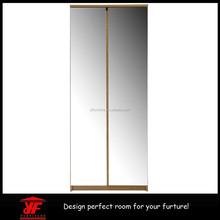 Hot Sale MDF Bedroom Furniture Double Door Wardrobe Design with Mirror