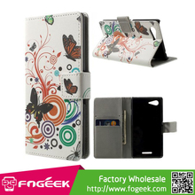 Paypal Accepted Butterfly Circles Magnetic Leather Stand Case for Sony Xperia E3 D2203 D2206 / E3 Dual SIM