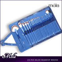 High quality blue wood best makeup brushes for eyes 24pcs good makeup brushes cheap