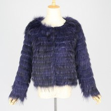 QC9408-4 Korean style real raccoon dog navy fur coats jacket
