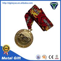 Manufactory price Metal saint medal with ribbon