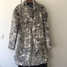 QC9344 natural chinchilla rabbit fur long coats for women