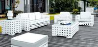 White Poly Rattan garden sofas