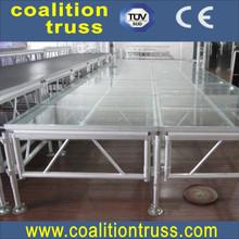Portable folding aluminum plywood stage