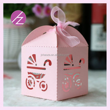 Baby shower decorations pink candy box laser cut gift boxes TH-123 Haoze Brand