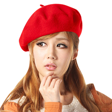 Hot Sale Fashion Women Beret Cap Wool Blend Beret Beanie Winter Vintage Solid Colors Soft Hat Ski Cap Ladies Classic Berets
